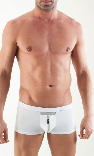 GERONIMO Mens Underwear  Boxer White Low Rise, Zip front 1351bv
